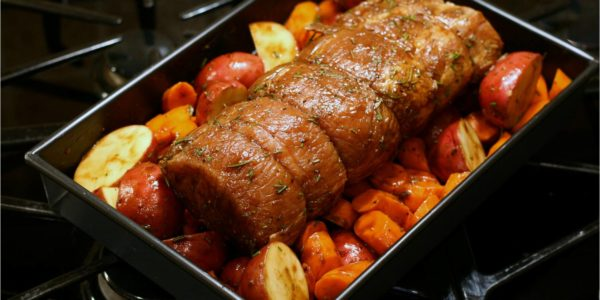 Pork-Loin-and-Vegetables-Going-into-Oven